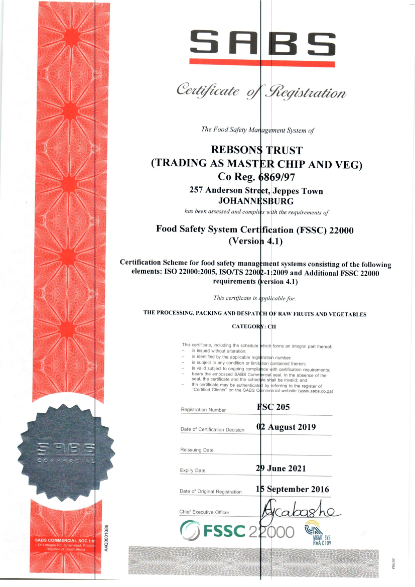 FSSC food safety Our certification